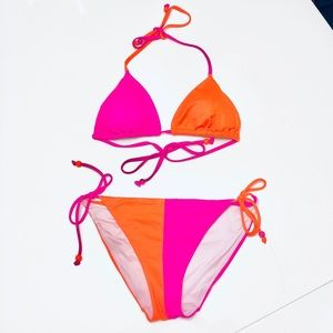 Victoria's Secret VS Teeny Bikini Color Block Sz L